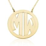 2 initial block necklace gp, Soter Monogram