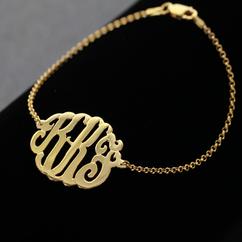 solid gold personalized monogram bracelet 46, Soter Monogram
