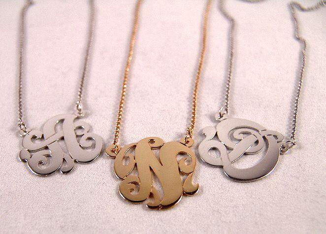 Single Initial Script Monogram Necklace sotermonogram.com