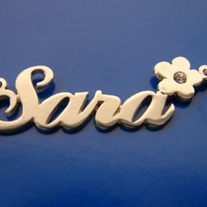 Sara Name Necklace With Diamond On Flower sotermonogram.com